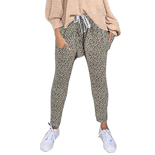 YKARITIANNA Women's Skinny Sexy Pants, Comfy Leopard Stretch Floral Print Drawstring Leggings Trousers