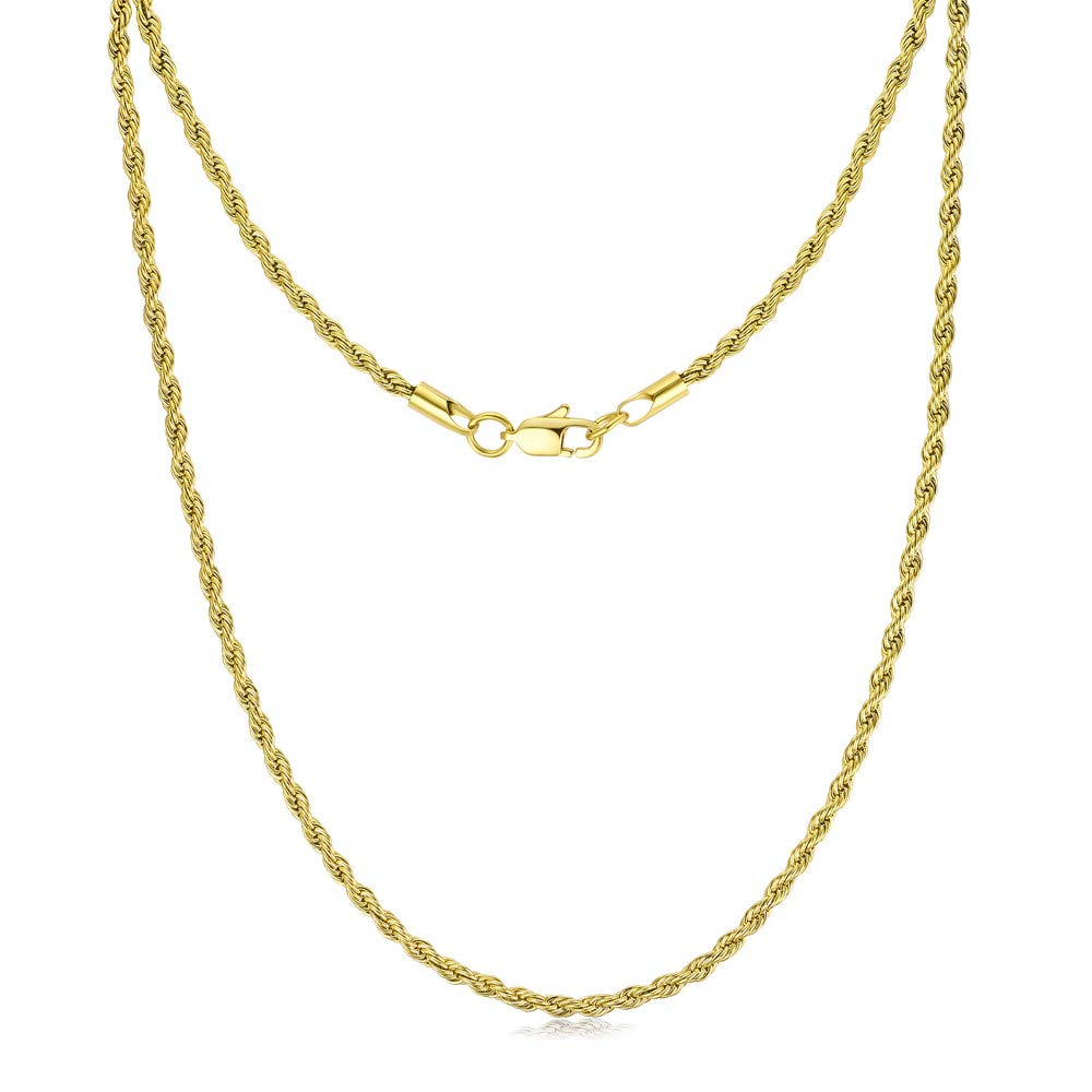 FOSIR 3mm 4mm 5mm Stainless Steel Mens Womens Necklace 18K Real Gold Plated Twist Rope Chain, 18-30 Inch