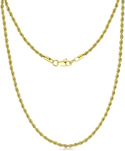 FOSIR 3mm 4mm 5mm Stainless Steel Mens Womens18K Real Gold Plated Rope Chain Necklace, 18-30 Inches