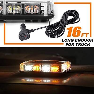 VKGAT 36 LED Roof Top Strobe Lights, Emergency Hazard Warning Safety Flashing Strobe Light Bar for Truck Car, Waterproof and Magnetic Mount 12-24V (Amber/White): Automotive