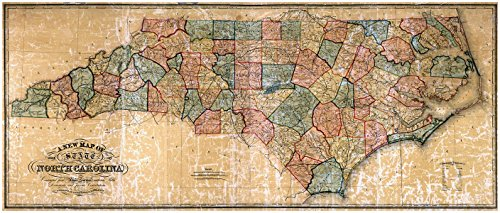 - MAP of NORTH CAROLINA by the W Williams Map Engraving Company circa 1854 - measures 24