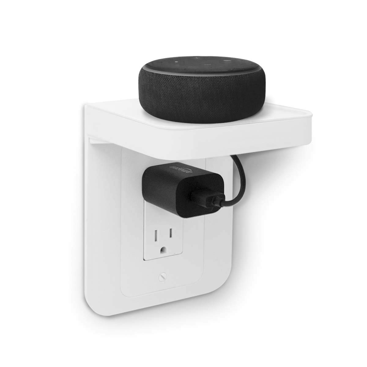 ALLICAVER Outlet Shelf, Power Perch with Built-In Cable Management, A Space Saving Solution for Google Home, Smart Speakers, Cellphones, Electric Toothbrush and More (White-decora)
