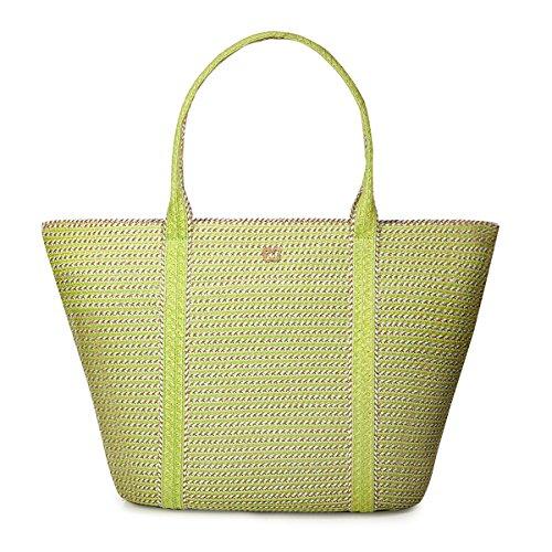 Eric Javits Straw Cap - Eric Javits Luxury Fashion Designer Women's Handbag - Prep Tote - Chartreuse Mix