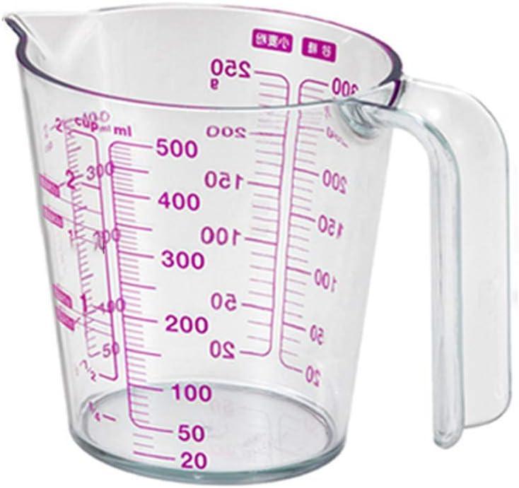 Abcidubxc - Vaso medidor con 4 básculas (sin BPA, asa basculante, 250 / 500 ml), transparente
