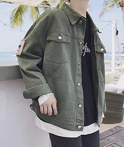 Coat Green Jean Down Collar Turn Men Jacket RkBaoye Fit Slim Pocket Buttoned WqvAPa