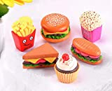 AMOBESTER Dollhouse Play Food Hamburgers Chips Popcorn Sandwiches Cupcakes