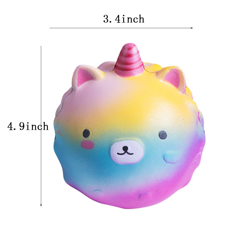 Colored Unicorn Star Bear Kawaii Scented Charms 2PC Stress Relief Toys For Kids and Adults by Bagvhandbagro 2PC Jumbo Squishy Toys