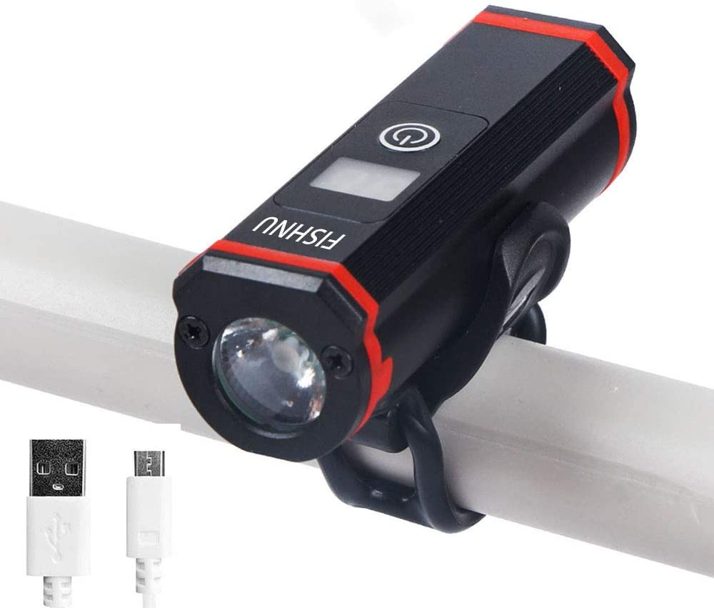 FISHNU USB Rechargeable Bicycle Headlight Bike Light Mini Size and Long Lasting,Bicycle Light Installs in Seconds Without Tools,IP65