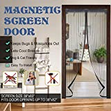 Magnetic Screen Door with Reinforced  Lightweight Mesh Curtain Full Frame Velcro Ultra Seal Magnets Shut Automatically Fits Door up to 39 x 83-inch Max (black)