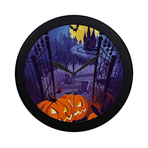 APJDFNKL Modern Simple Halloween Pumpkins Dark Castle On Blue Wall Clock Indoor Non-Ticking Silent Quartz Quiet Sweep Movement Wall Clcok for Office,Bathroom,livingroom Decorative 9.65 Inch -