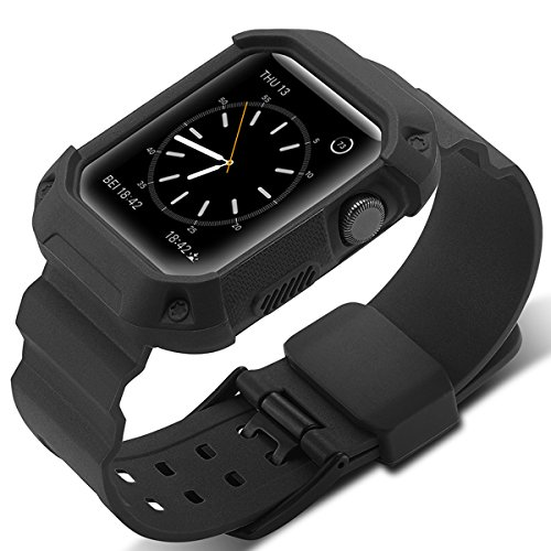 Compatible Apple Watch Band 42mm Case,Camyse Shockproof Rugged Protective Cover with Bands Stainless Steel Clasp for iWatch Apple Watch Series 3, 2, 1 Sport Edition for Men Women Grils Boys - Black by Camyse (Image #3)