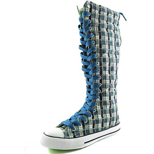 Dailyshoes Damesschoen Mid-kalf Lange Laarzen Casual Sneaker Punk Flat, Klassiek Blauw-blauw Witte Geruite Laarzen, Klassiek Blauw Kant