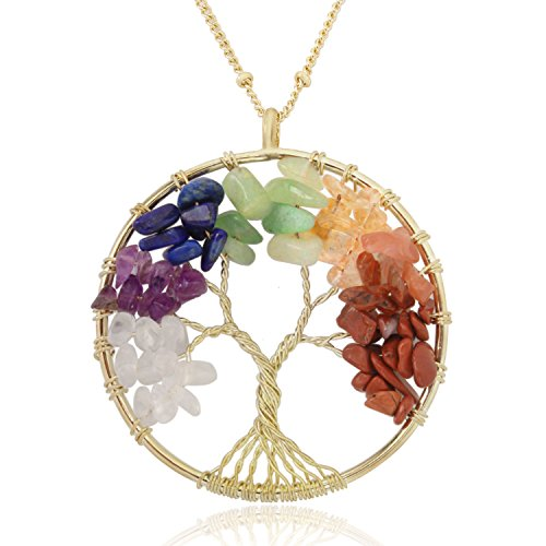 (BOUTIQUELOVIN Golden Tree of Life Circle Pendant 7 Chakra Healing Crystals Gemstone Necklace for Women Girls)