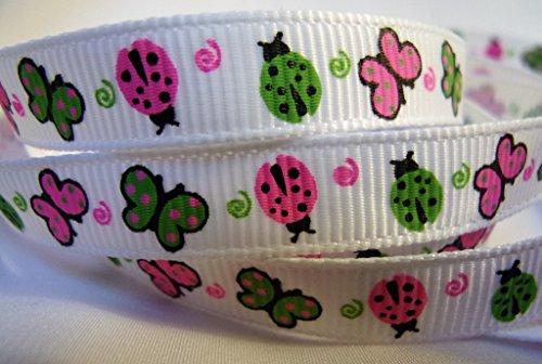 Grosgrain Ribbon - Neon Butterfly & Ladybug Print - 3/8