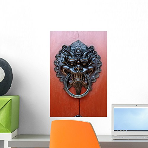 Wallmonkeys Chinese Black Dragon Door Knocker Wall Decal Peel and Stick Graphic WM61435 (18 in H x 12 in W)