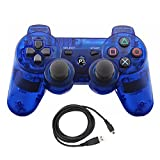 Bowink Wireless Bluetooth Controller For PS3 Double Shock - Bundled with USB charge cord (Clear Blue)