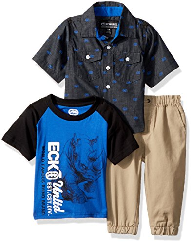Ecko Tie - Ecko Baby Boys Short Sleeve Sport Shirt, T-Shirt, and Pant Set, Multi Plaid, 12M