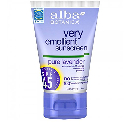 Alba Botanica Very Emollient Sunscreen, Lavender SPF 45 4 oz (Alba Sunblock Spray)