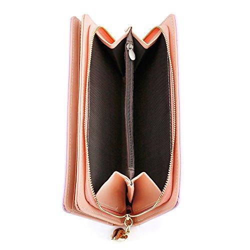 Oct17 Fashion Women Faux Leather Wallet Clutch Card Holder Zip Purse Lady Long Handbag – Purple