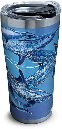 Tervis 1293629 Guy Harvey-Dolphins Tumbler with Clear and Black Hammer Lid, 20 oz Stainless Steel, Silver