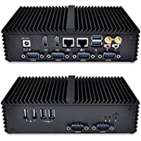 Qotom-Q310P Nano ITX Industrial Mini Nettop Dual Core Intel Celeron 3215U with 2 HD Video 2 LAN 6 Serial Ports 6 USB Ports (8G RAM, 128G SSD, WiFi + Bluetooth)
