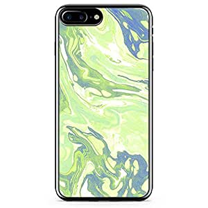iPhone 7 Plus Transparent Edge Phone Case Liquid Marble Phone Case Liquid Green Dark iPhone 7 Plus Cover with Transparent Frame