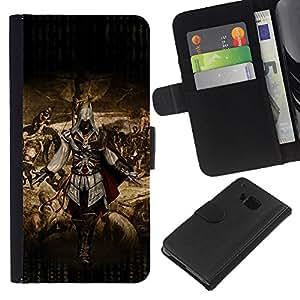 JackGot ( Ataque Asesinos ) HTC One M9 la tarjeta de Crédito Slots PU Funda de cuero Monedero caso cubierta de piel