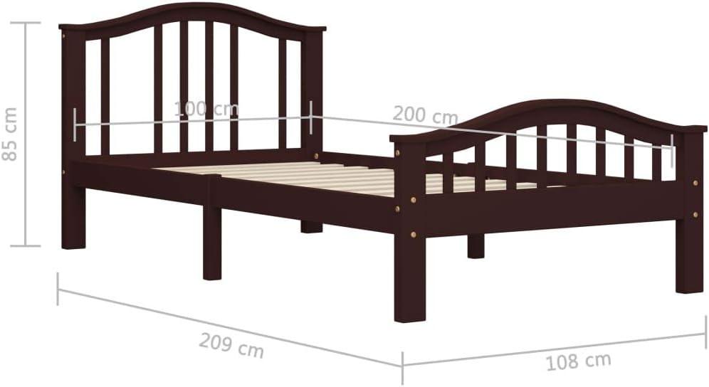 vidaXL Bois de Pin Massif Cadre de Lit Sommier /à Lattes Lit Simple Lit Adulte Cadre /à Lattes sur Pieds Chambre /à Coucher Int/érieur Marron Fonc/é 90x200 cm
