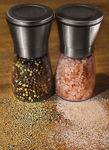 Salt and pepper grinder set these glass stainless steel