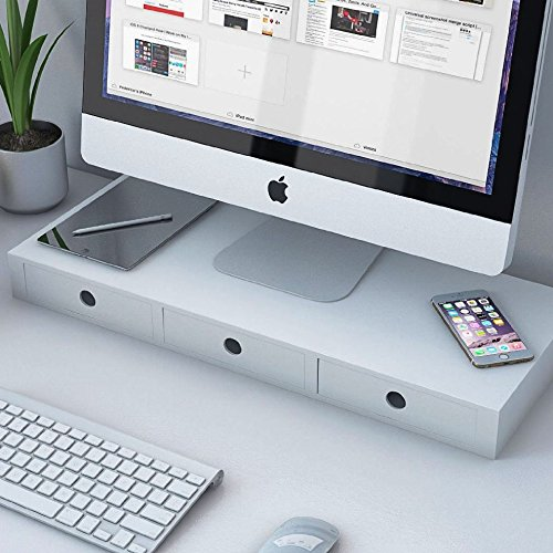 Flat Panel Monitor Riser Stand , Space Saver Workstation , Multipurpose Desk Shelf Organizer with 3 Drawers (White)