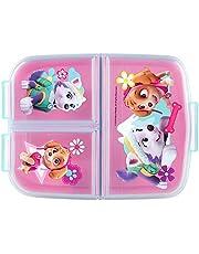 P:os 33429 - broodtrommel voor meisjes met Paw Patrol motief in roze en 3 vakken met clipsluiting, ca. 14 x 18,5 x 5,5 cm groot, van kunststof, bpa- en ftalaatvrij, gesorteerd