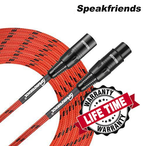 15ft Microphone Cable XLR Male to XLR Female Balanced Red Mic Cables by SPEAKFRIENDS C Series - 15 Feet