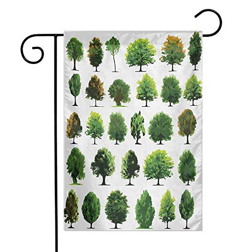 Nature Garden Flag Mother Nature Gift Different Types of Trees and Pines Planes Bushes Art Print Premium Material W12 x L18 White and Green
