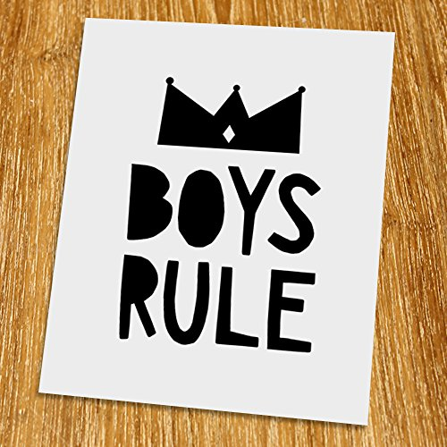 Boys rule Print (Unframed), Nursery Wall Art, Scandinavian, Modern, Playroom Decor, Black and White, 8x10