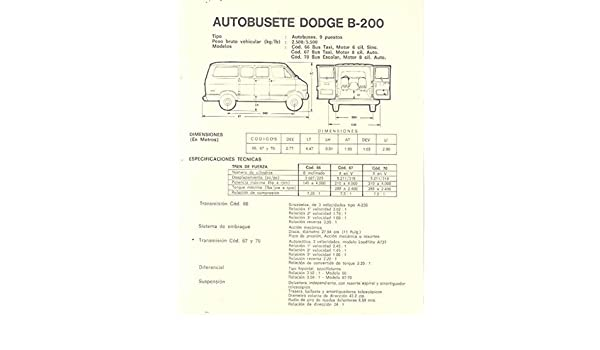 Amazon.com: 1970 Dodge B200 Wagon Van Truck Brochure Venezuela ...