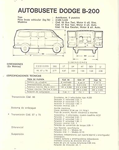 Amazon.com: 1970 Dodge B200 Wagon Van Truck Brochure Venezuela: Entertainment Collectibles