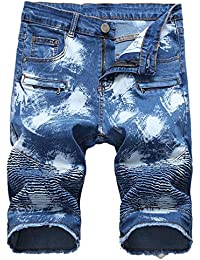 Denim Shorts for Men Summer Vintage Washed Ripped Distressed Straight Fit Knee Length Casual Jean Shorts