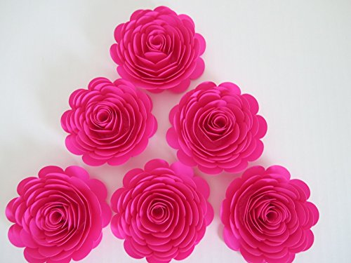 """Fuchsia Paper Flowers, 3"""" Hot Pink Roses, Set of 6, Girl Bab"""