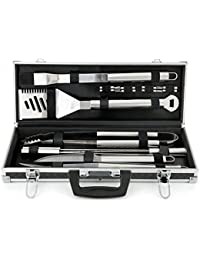 PickUp 18 Piece Premium BBQ Grilling Tool Set, Outdoor Living Cooking, Aluminum, Silver occupation