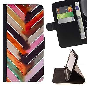 ForSamsung Galaxy S3 MINI i8190 (NOT S3) Case , Patrón de la acuarela en colores pastel Líneas- la tarjeta de Crédito Slots PU Funda de cuero Monedero caso cubierta de piel