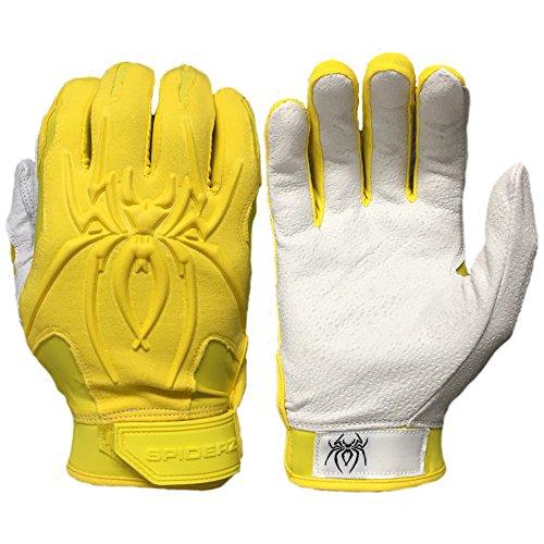 Premium 1 Piece (Spiderz Adult ENDITE Batting Glove Premium Textured 1 Piece Leather Palm (Mellow Yellow, Adult Large))
