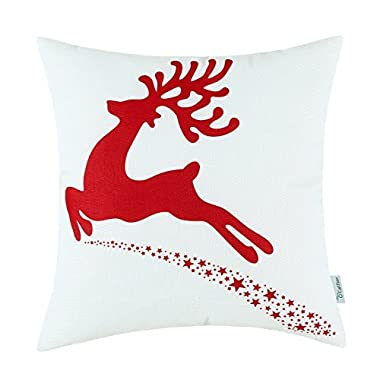 Euphoria CaliTime Home Decor Pillow Covers Christmas Holiday Jump Reindeer Xmas Red Color 18 X 18 Inches
