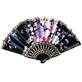 Summer Plastic Sakura Pattern Folding Hand Held Fan Chinese Dance Party Pocket Gifts Wedding Floral Printed Fan - Black