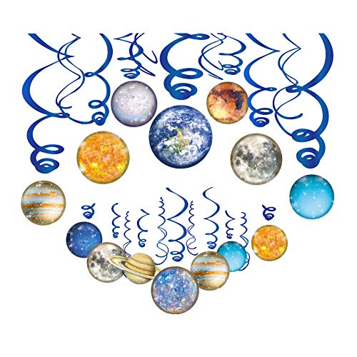 CC HOME Solar System Hanging Swirl Decorations - Planets/Outer Space Hanging Decorations Birthday Party Supplies(30 Pack)