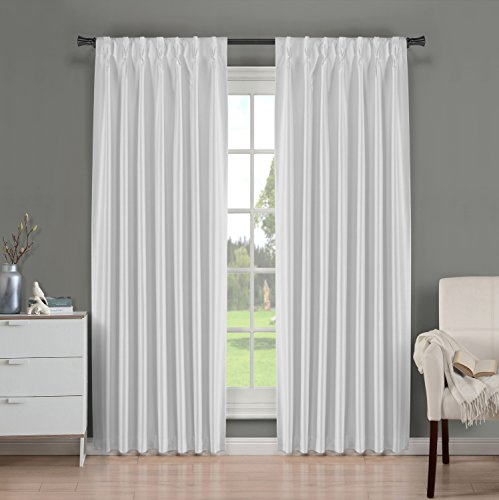 Brielle Fortune Faux Dupioni Silk Lined Insulated Room Darkeninng Back Tab/Pinch Pleat Panel, 29 by 108