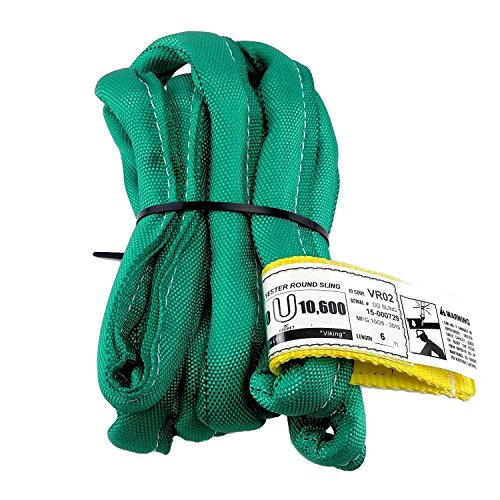 (USA Made VR2 X 6' Green Slings 4'-30' Lengths In Listing, DOUBLE PLY COVER Endless Round Poly Lifting Slings, 5,300 lbs Vertical, 4,240 lbs Choker, 10,600 lbs Basket (USA Poly)(6)