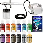 Master Airbrush Cake Decorating System. with Airbrush, Compressor, Free Storage Case & 4-Color Chefmaster Color Kit 5 Professional Master Airbrush Airbrushing System with a Model G23 Multi-Purpose High Performance Precision Airbrush with a 1/3 oz. gravity fluid cup and a 0.3mm fluid tip. The cutaway handle allows you to quickly flush and clean air passages. Master's top selling quiet, portable and lightweight mini 12V DC airbrush compressor with a direct plug in 110V AC adapter. Air delivery 10 ltrs/per at 18 PSI. Comes with a blow molded plastic storage and carrying case. 4 Color Chefmaster airbrush food coloring set in 0.7 ounce bottles. Edible colors are highly concentrated with superior strength and are the brightest and truest colors available. Made in the USA with high quality FDA approved ingredients, and are Certified Kosher.