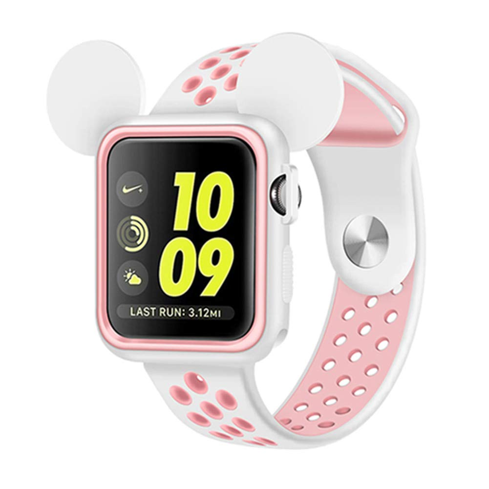 Apple Watch Cartoon Case 42mm, Shock-Proof and Shatter-Resistant TPU Bumper Case Band Combo Compatible for iWatch 38mm 42mm Series 1/2/3 (White/Pink, 42 mm)