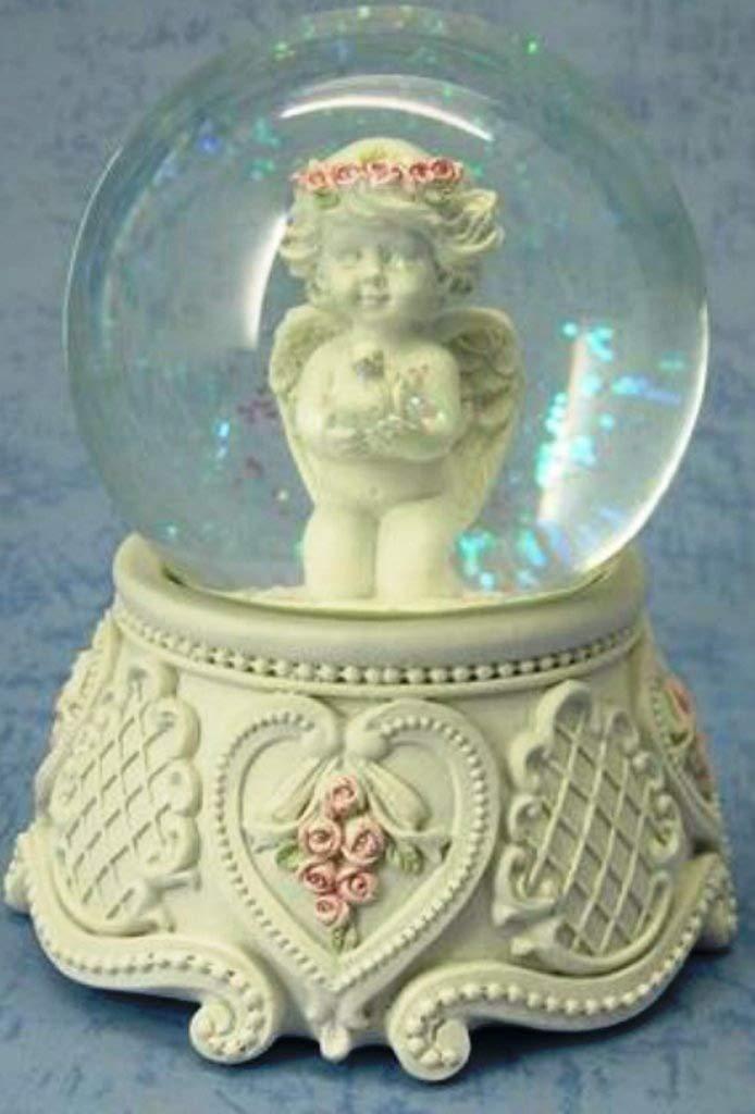 Gro/ßer Cherub Engel mit Taube Schneekugel Ornament Wasser Ball rot Rosen