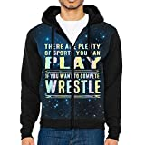 Funny Wrestling Athletics Men's Zip-Front Hoodie Sweatshirt With Drawstrings M